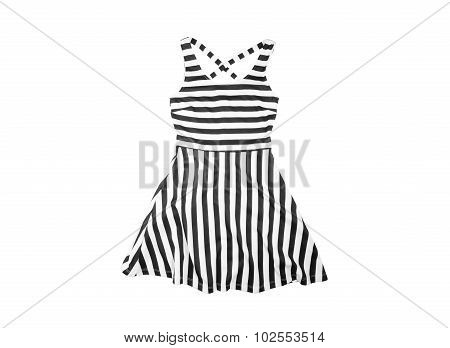 Cotton  Women Summer Dress With Black And White Stripes