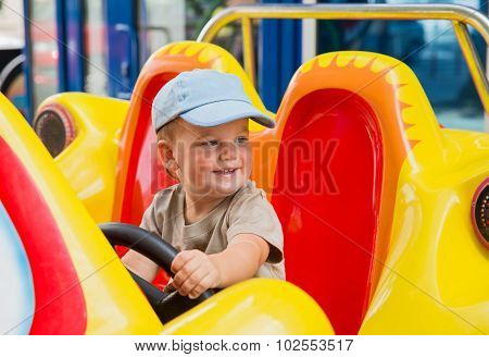 Baby Boy Riding Car