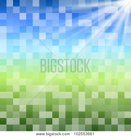 Blue-green-background-squares-mosaic-meadow-sky-sun