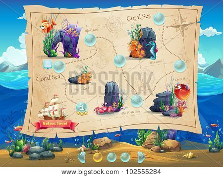 Fish World - Illustration Example Screen Levels, Game Interface