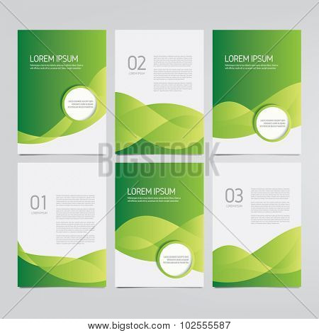Brochure, annual report, flyer, magazine vector templates. Set of modern green corporate designs.