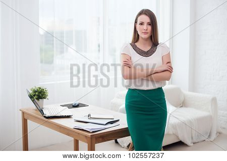 Portait of beautiful successful business woman standing at office.