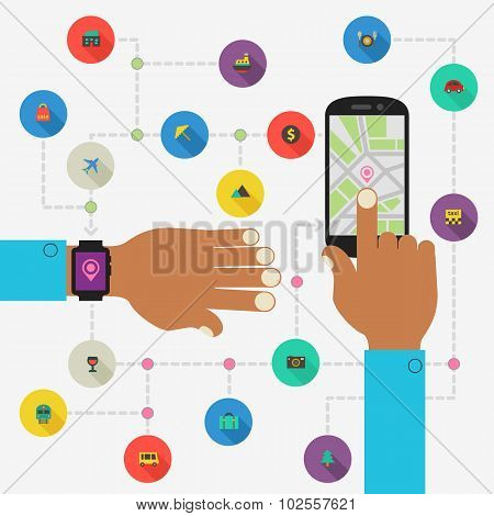 Wearable technology concept. Map and traveling app
