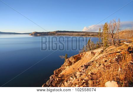 Yellowstone lake in autumn time