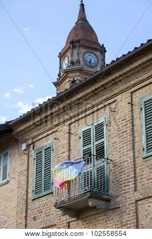 Bra (Cuneo): old palace facade. Color image