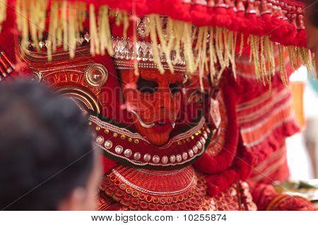 Theyyam performer in Ambilad, Kerala