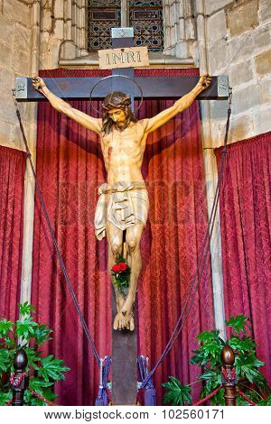 BARCELONA, SPAIN - MAY 02: Detail of Christ Crucifixtion Statue Inside Barcelona Cathedral, Barcelona, Spain, May 02, 2015