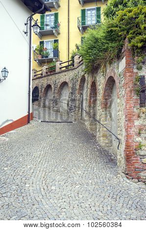 Monforte d'Alba (Cuneo); old alley. color image
