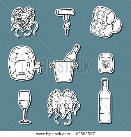Set ofk cartoon wine stickers in hand drawn style: bottle, glass, barrel, grapes, corkscrew. Vineyar