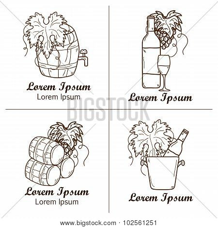 Set of cartoon wine badges in hand drawn style: bottle, glass, barrel, grapes. Vineyard or restaurnt