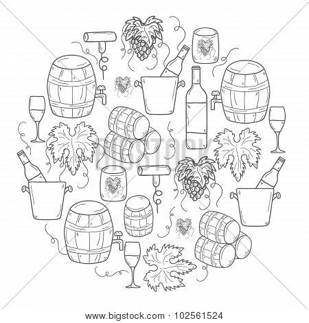 Vector background with cartoon hand drawn wine objects in round shape: bottle, glass, barrel, grapes