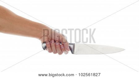 Male Hand Holding Big Silver Kitchen Knife