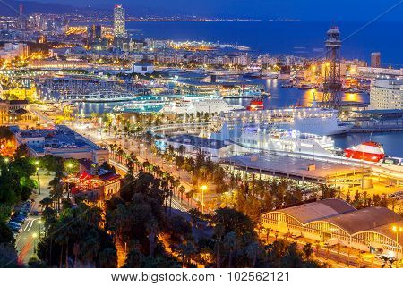 Barcelona and the port at night.