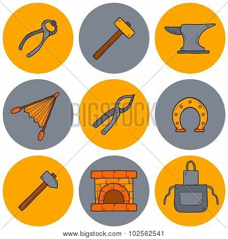 Set of cartoon icons in hand drawn style on blacksmith theme: horseshoe, sledgehammer, vise, oven