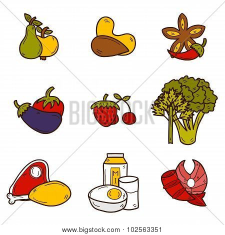 Set of objects in hand drawn style on paleo diet theme: meat, fish, fruits, vegetables, spices, nuts