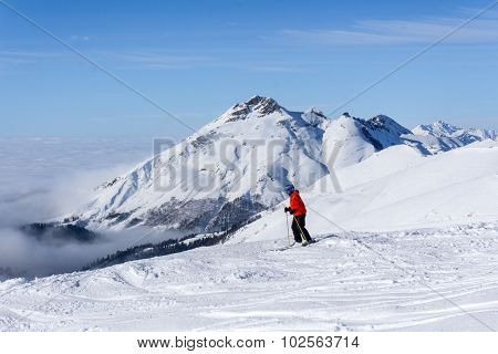 skier standing on top of a mountain above the clouds