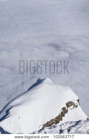 View on mountains, above clouds, Krasnaya Polyana, Sochi, Russia
