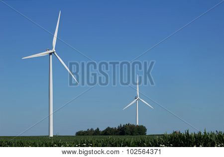 Two Wind Turbines in a Corn Field