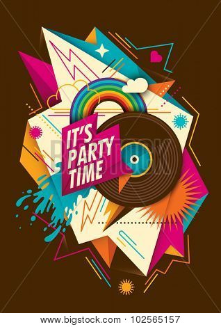 Abstract party background with vinyl. Vector illustration.