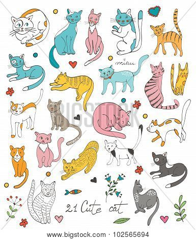 21 cute hand drawn cat colorful set with twigs flowers and leaves