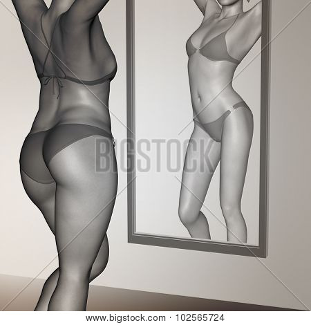 Concept or conceptual 3D woman, girl as fat, overweight vs fit healthy, skinny underweight anorexic female before and after diet over a mirror