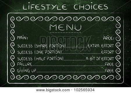 Funny Menu Of Life Choices: Work For Success Or Fail For Free