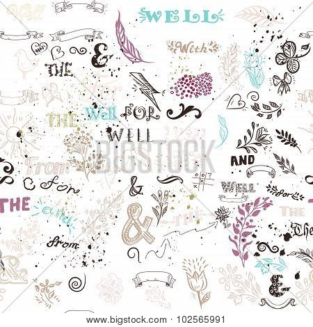 Seamless Pattern With Hand Sketched Doodles