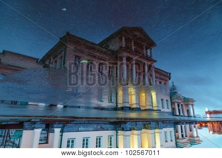Reflection Of Architectural Elements Ancient Building In Water