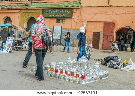 MARRAKESH, MOROCCO, APRIL 3, 2015: Jemaa el-Fnaa square - stand with souvenirs