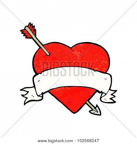 cartoon love heart tattoo