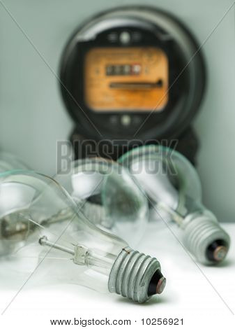 Lamp Bulb And Electricity Supply Meter
