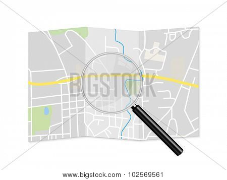 City Map Magnifying Glass Illustration