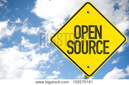Open Source sign with sky background