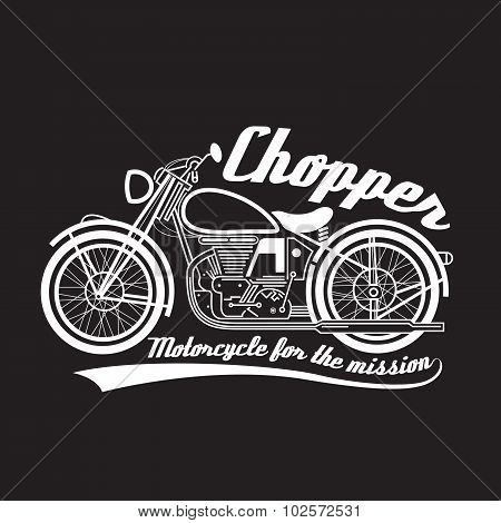 White line chopper motorcycle vector symbol design