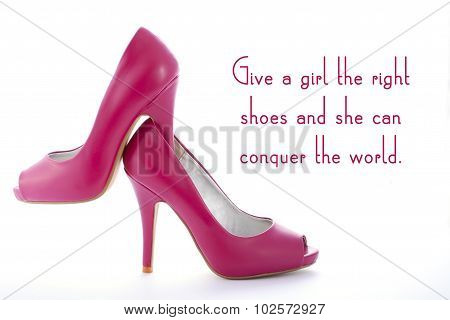 Pair Of High Heel Stiletto Pink Shoes With Funny Quote