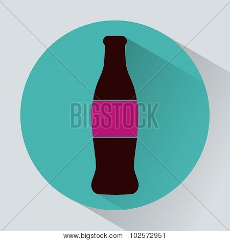 Glass Bottle Of Soda Colorful Round Icon