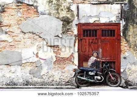 Famous Street Art Mural In George Town, Penang, Malaysia