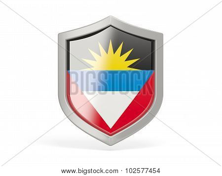 Shield Icon With Flag Of Antigua And Barbuda