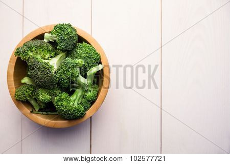 Broccoli in a bowl on the table