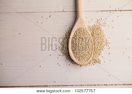 High angle view of sesame seed on the spoon