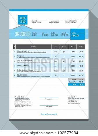 Vector Customizable Invoice Form Template Design. Vector Illustration. Blue Color Theme
