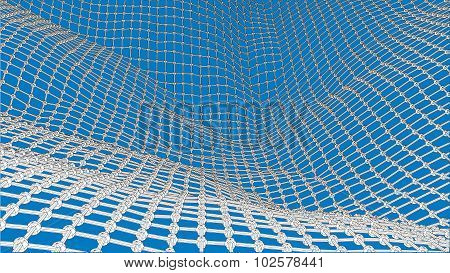 3D Wireframe Wave Net Surface