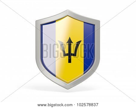 Shield Icon With Flag Of Barbados