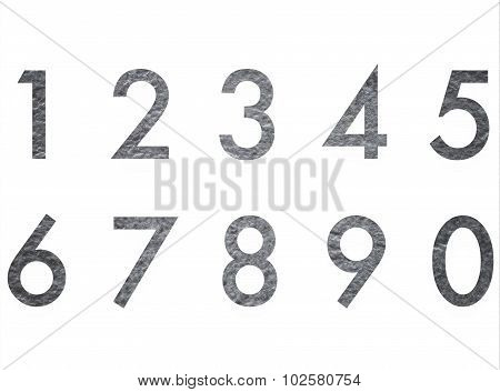 Set of Stone texture design number 1 to 0 isolated on white background