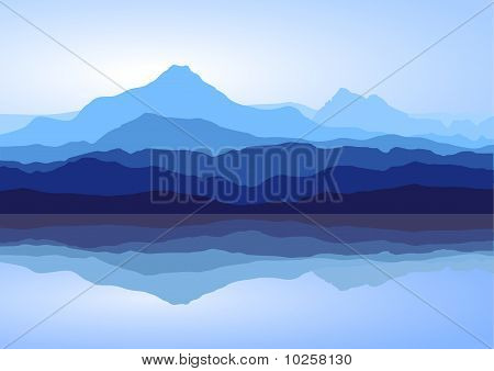 Blue Mountains Near Lake