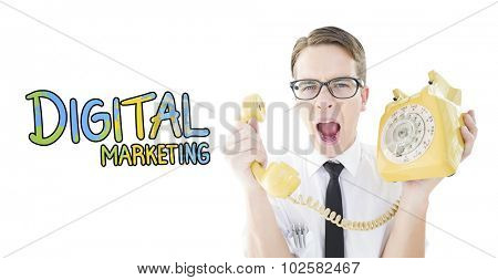 Geeky businessman shouting at retro phone against digital marketing