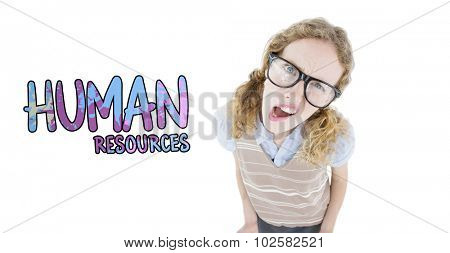 Confused geeky hipster woman against human resources