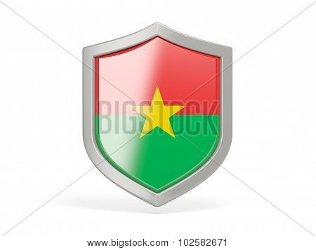 Shield Icon With Flag Of Burkina Faso