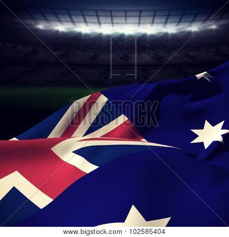 Australian flag against rugby stadium