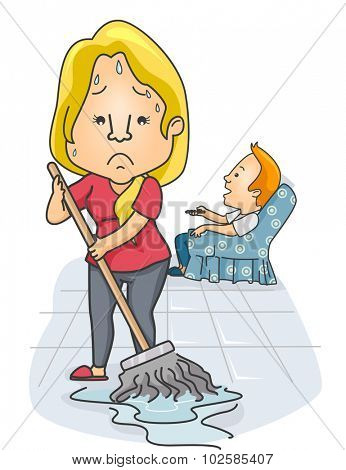 Illustration of a Woman Mopping the Floor While Her Partner Watches TV